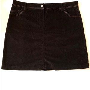 Boden Black Velvet A-Line Knee Length Skirt 20L